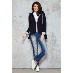 Czarna Ciekawa Rozpinana Bluza z Kapturem z Dłuższym Tyłem. Czarne bluzy rozpinane damskie marki Molly.pl, l, z jeansu, z długim rękawem, długie, z kapturem. Za 97,90 zł.