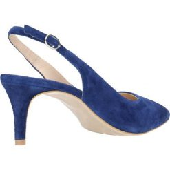Czółenka RUMI. Niebieskie buty ślubne damskie Gino Rossi, w paski, ze skóry, na szpilce. Za 149,90 zł.