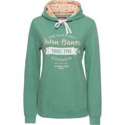 Bluza z nadrukiem i kapturem, długi rękaw bonprix zielony szałwiowy z nadrukiem. Zielone bluzy rozpinane damskie bonprix, z nadrukiem, z długim rękawem, długie. Za 89,99 zł.