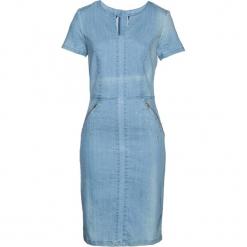 """Sukienka dżinsowa bonprix niebieski """"bleached"""". Niebieskie długie sukienki marki bonprix, z długim rękawem, dopasowane. Za 149,99 zł."""