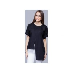 Asymetryczna unikatowa koszulka czarna H014. Czarne t-shirty damskie Harmony, s, z bawełny, z asymetrycznym kołnierzem. Za 134,00 zł.
