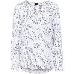 Bluzka bonprix biało-ciemnoniebieski w kropki. Białe bluzki asymetryczne bonprix, w kropki, z dekoltem w serek, z długim rękawem. Za 74,99 zł.