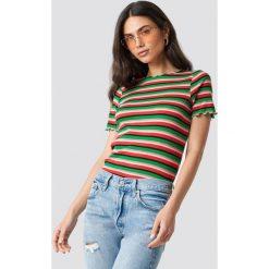 T-shirty damskie: NA-KD Trend T-shirt w paski - Green