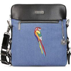 Niebieska listonoszka damska. Niebieskie listonoszki damskie marki Kazar, w kolorowe wzory, z jeansu, przez ramię, duże. Za 349,00 zł.