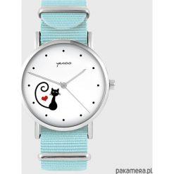 Zegarek - Kotek, serce - niebieski, nato. Niebieskie zegarki damskie Pakamera. Za 129,00 zł.