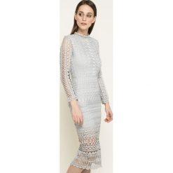 Missguided - Sukienka. Szare długie sukienki marki Missguided, na co dzień, z koronki, casualowe, z długim rękawem, proste. W wyprzedaży za 179,90 zł.