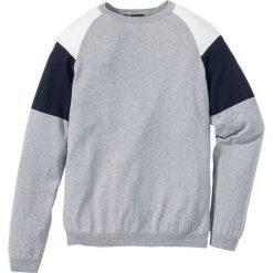 Swetry klasyczne męskie: Sweter Regular Fit bonprix jasnoszary melanż  – ciemnoniebieski