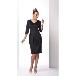 Czarna Sukienka Bombka z Długim Rękawem. Czarne sukienki koktajlowe marki Molly.pl, s, z bawełny, z długim rękawem, bombki. Za 88,90 zł.