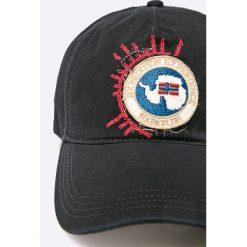 Napapijri - Czapka. Czarne czapki z daszkiem męskie marki Napapijri, z bawełny. W wyprzedaży za 179,90 zł.