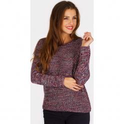 """Sweter """"Icmac"""" ze wzorem. Brązowe swetry klasyczne damskie Scottage, z wełny, z okrągłym kołnierzem. W wyprzedaży za 86,95 zł."""