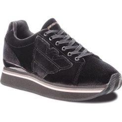 Sneakersy EMPORIO ARMANI - X3X057 XD163 00002 Black. Czarne sneakersy damskie marki Emporio Armani, z materiału. Za 769,00 zł.