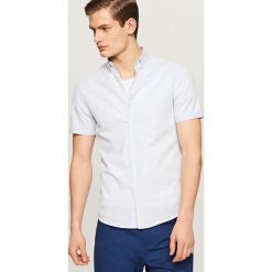 Odzież męska: Koszula w drobną kratkę – Niebieski