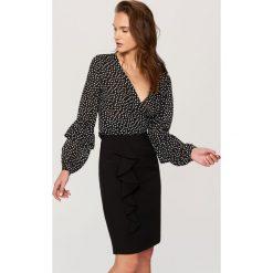 Spódniczki: Ołówkowa spódnica z falbaną – Czarny