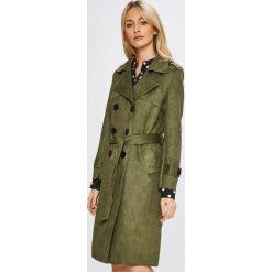 Answear - Płaszcz. Brązowe płaszcze damskie pastelowe ANSWEAR, l, w paski, z materiału, klasyczne. W wyprzedaży za 169,90 zł.