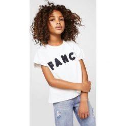 Mango Kids - Top dziecięcy Fancy 110-164 cm. Szare bluzki dziewczęce bawełniane marki Mango Kids, z aplikacjami, z okrągłym kołnierzem. Za 59,90 zł.