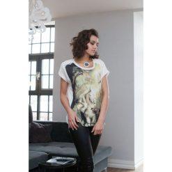 T-shirt z nadrukiem kremowy. Białe t-shirty damskie Fasardi, z nadrukiem. Za 19,00 zł.