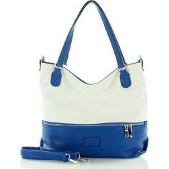 Pojemna torba shopper bag granatowy. Niebieskie shopper bag damskie FURRINI, w paski, ze skóry, zdobione. Za 93,00 zł.