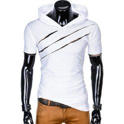 T-shirty męskie: T-SHIRT MĘSKI Z KAPTUREM I NADRUKIEM S1019 - BIAŁY