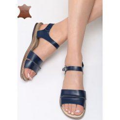 Granatowe Skórzane Sandały Almond. Niebieskie sandały damskie Born2be, z materiału, na obcasie. Za 99,99 zł.