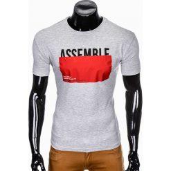 T-SHIRT MĘSKI Z NADRUKIEM S924 - SZARY. Czarne t-shirty męskie z nadrukiem marki Ombre Clothing, m, z bawełny, z kapturem. Za 29,00 zł.