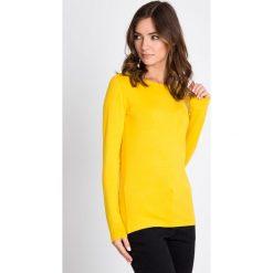 Bluzki damskie: Żółta bluzka basic z długim rękawem QUIOSQUE