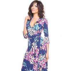 """Sukienki hiszpanki: Sukienka """"Ramy"""" w kolorze granatowo-różowym"""
