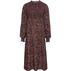 Sukienka midi bonprix czarno-ciemnopomarańczowy z nadrukiem. Czarne sukienki z falbanami marki Mohito, m, z kontrastowym kołnierzykiem. Za 169,99 zł.