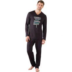 Piżamy męskie: Długa piżama z długim rękawem, wzorzysty t-shirt