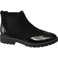 Sztyblety damskie Graceland czarne. Czarne botki damskie na obcasie marki Graceland, w kolorowe wzory, z materiału. Za 119,90 zł.