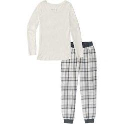 Piżamy damskie: Piżama flanelowa bonprix biel wełny z nadrukiem