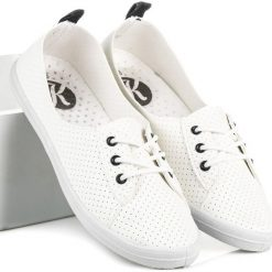 Trampki damskie slip on: Ażurowe tenisówki KYLIE białe