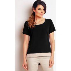 Bluzki asymetryczne: Czarna Prosta Letnia bluzka z Ozdobną Lamówką