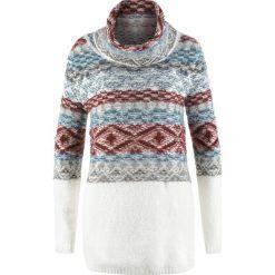 Swetry oversize damskie: Sweter oversize z golfem, długi rękaw bonprix biel wełny wzorzysty