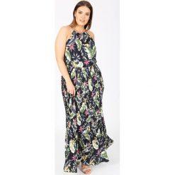 Długie sukienki: Bardzo długa sukienka bez rękawów z tropikalnym wzorem