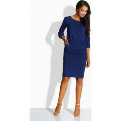 Dopasowana sukienka ze złotymi guzikami granatowa LILLIAN. Niebieskie długie sukienki Lemoniade, na co dzień, z długim rękawem, dopasowane. Za 119,00 zł.