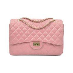 Torebki i plecaki damskie: Skórzana torebka w kolorze różowym – (S)22 x (W)33 x (G)12 cm