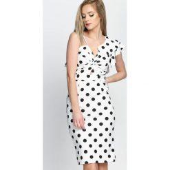 Biała Sukienka Retro Woman. Białe sukienki letnie Born2be, s, z aplikacjami, retro, midi, dopasowane. Za 79,99 zł.