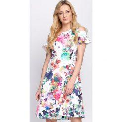 Sukienki: Biało-Zielona Sukienka Vanilla