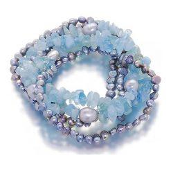 Bransoletki damskie na nogę: Bransoletka z perłami i kamieniami - (D)20 cm