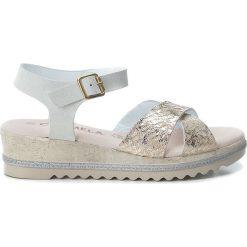 Rzymianki damskie: Skórzane sandały w kolorze biało-złotym