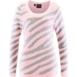 Sweter bonprix pastelowy jasnoróżowy - srebrny wzorzysty. Czerwone swetry klasyczne damskie bonprix, z okrągłym kołnierzem. Za 79,99 zł.