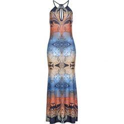 Sukienka z nadrukiem bonprix niebiesko-koniakowy wzorzysty. Niebieskie sukienki letnie marki bonprix, z nadrukiem, na ramiączkach. Za 129,99 zł.