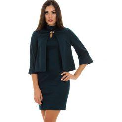 Kardigany damskie: 2-częściowy zestaw w kolorze ciemnozielonym – narzutka, sukienka
