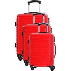 Zestaw walizek w kolorze czerwonym - 3 szt. Czerwone walizki marki Travel One, z materiału. W wyprzedaży za 659,95 zł.