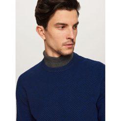 Prążkowany sweter - Granatowy. Niebieskie swetry klasyczne męskie Reserved, m, prążkowane. Za 119,99 zł.