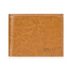 Elegancki skórzany męski portfel SOLIER  camel ANA. Czerwone portfele męskie marki Pakamera. Za 99,00 zł.