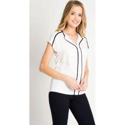 Bluzki damskie: Biała bluzka z kołnierzykiem QUIOSQUE