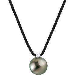 Naszyjniki damskie: Naszyjnik w kolorze czarnym z hodowlaną perłą Tahiti i diamentami – dł. 42 cm