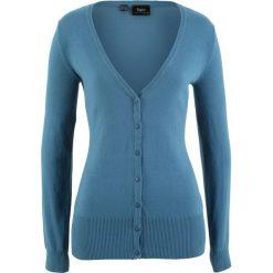Sweter rozpinany bonprix niebieski dżins. Niebieskie kardigany damskie bonprix, z dzianiny. Za 59,99 zł.