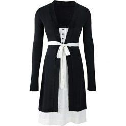 Sukienka dzianinowa bonprix czarno-kremowy. Czarne sukienki dzianinowe marki bonprix, w koronkowe wzory. Za 109,99 zł.